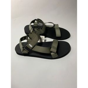 PINK by Victoria Secret Green Velcro Sandals